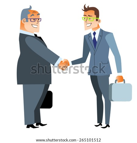 Business handshake deal. Finance and contract. Two men shake hands - stock vector