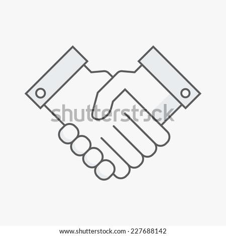 Business handshake. Line vector illustration - stock vector