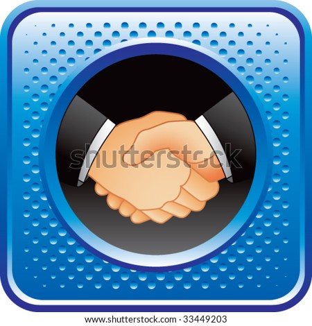 business handshake on blue halftone web button - stock vector