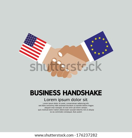 Business Handshake Vector Illustration. United States of America (USA) and Member State of the European Union (EU) - stock vector