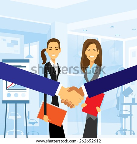 Business handshake with women background, colleagues shaking hands during meeting after signing agreement in office cartoon draw vector illustration