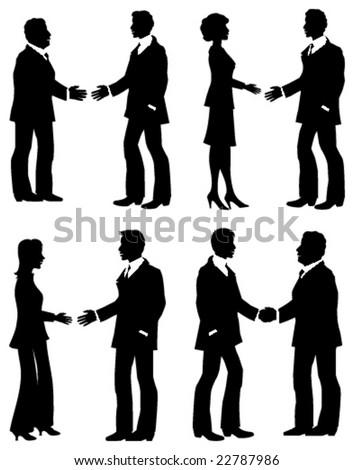 Business handshakes - stock vector