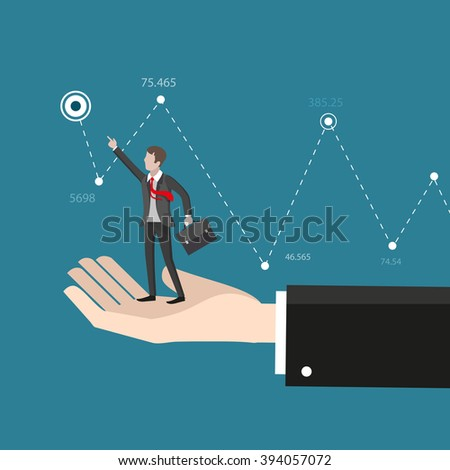 Business help and advice. Hand helps the businessman reach target. Business concept