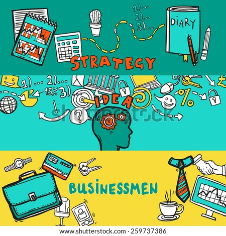 Business horizontal banner set with strategy idea businessman hand drawn elements isolated vector illustration - stock vector