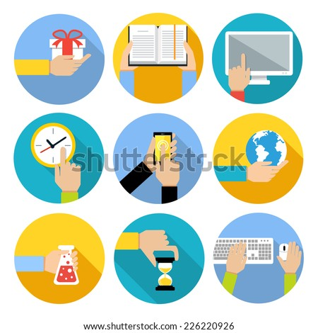Business human hands with gift box open book computer monitor icons set isolated vector illustration - stock vector