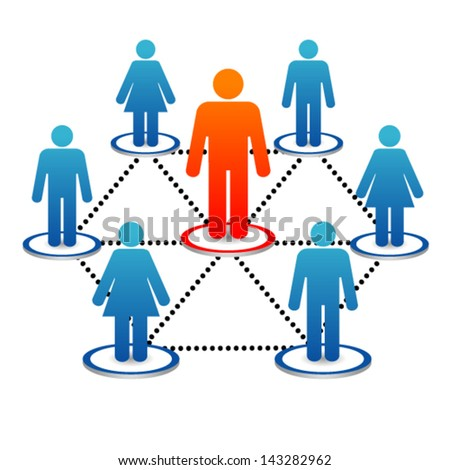 Business human network with  leader - stock vector