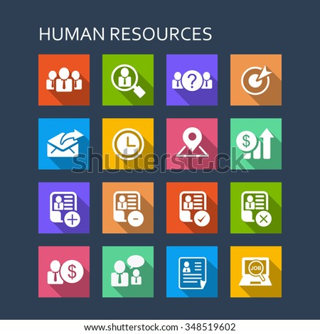 Business Human Resource icon set - Flat Series with long shadows - stock vector