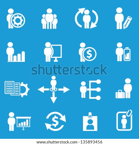 Business human resource,icon set on blue background,Vector - stock vector