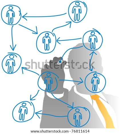 Business human resources manager drawing a people diagram from behind frosted glass - stock vector