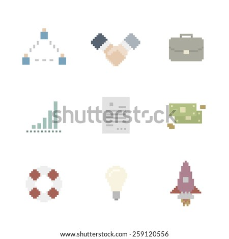 Business Icon Set In Pixel Art Style - stock vector