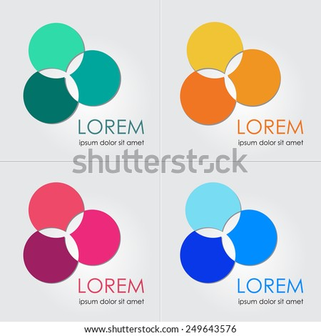 Business Icon Set. Vector Set of Abstract web icons. Abstract symbol of energy, unity, success. Brand visualization, corporate identity template. Logo template & website element. Sample text. Editable - stock vector