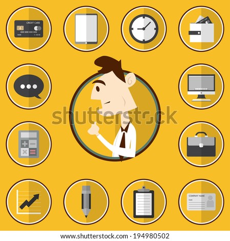 Business icon set with business man - stock vector