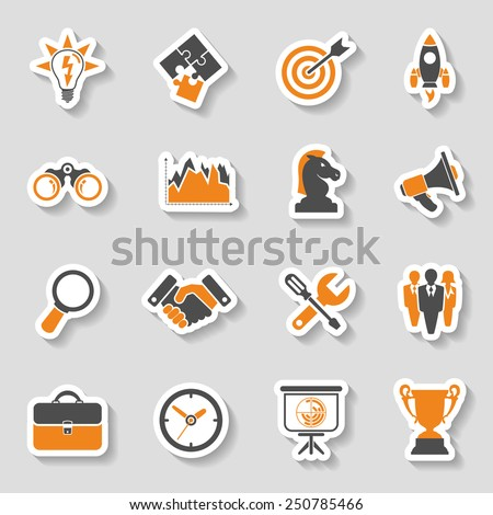 Business Icon Sticker Set - Finance, Strategy, Idea, Research, Teamwork, Success. Vector in two color. - stock vector