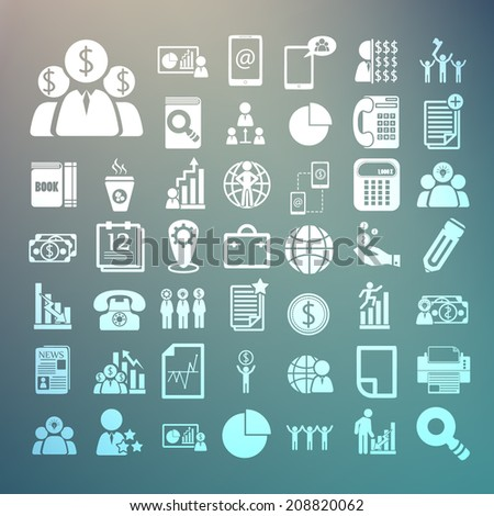 Business icons and Finance icons Set on Retina background - stock vector