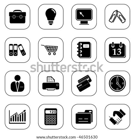 Business icons - B&W series - stock vector