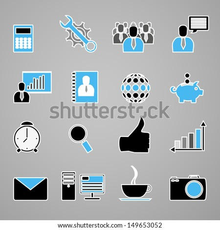 Business Icons - Blue Series  - stock vector