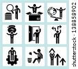 business icons, business management and human resource icon sets - stock photo