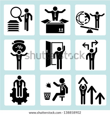business icons, business management and human resource icon sets