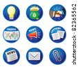 Business icons/buttons for ideas, money, deal/handshake, trends, news, letters, mail/email, and paperclip. Blue vector buttons. - stock vector