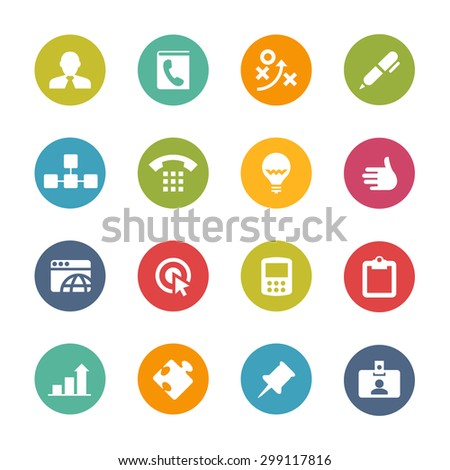 Business Icons, Circle Series - stock vector
