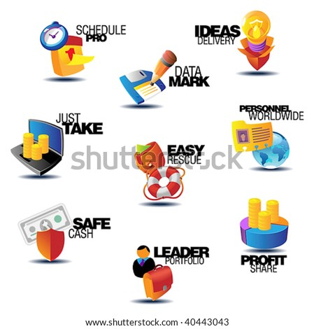 Business icons. Heading concepts for document, article or website. Vector illustration. - stock vector