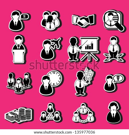 business icons, human resource, finance - stock vector