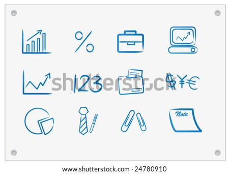 Business Icons on Board - stock vector