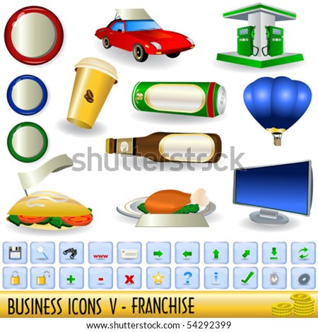 Business icons - part 5, franchise - stock vector