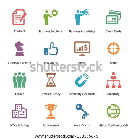 Business Icons Set 2 - Colored Series  - stock vector