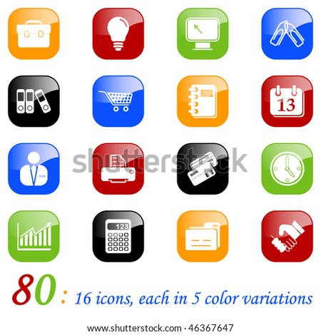 Business icons - set of 16 different icons, each with 5 different backgrounds. - stock vector