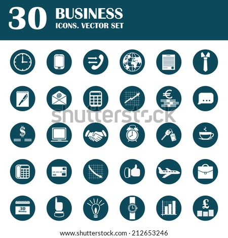 Business icons. Set of flat black-white icons. Vector - stock vector