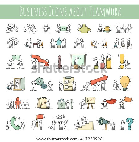 Business icons set of sketch working little people with gear, arrow. Doodle cute miniature scenes of workers. Hand drawn cartoon vector illustration for business design and infographic. - stock vector
