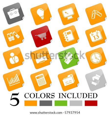 Business icons - sticky series - stock vector