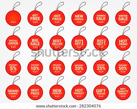 Business icons vector. Promotion tag. Price tag. Promotion label vector. Price vector. Promotion set vector. Product price vector. Discount price tag. Round icon hang tag vector. Product price icons. - stock vector
