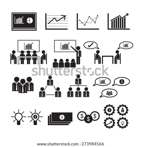 Business icons, vector set - stock vector