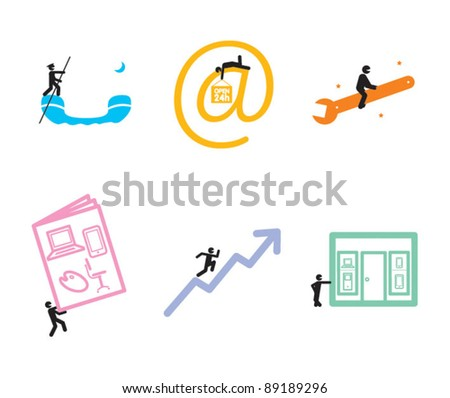 Business icons with a sense of humor - stock vector