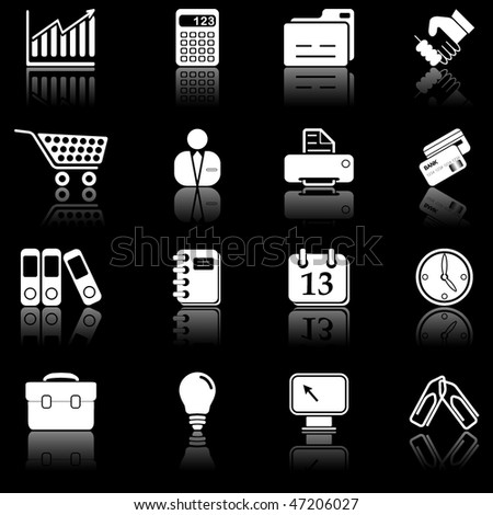 Business icons with reflection - black series - stock vector