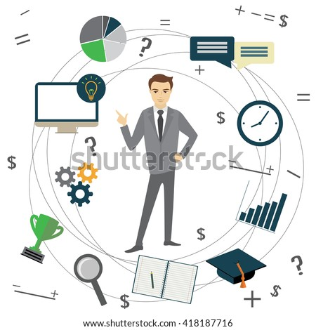 Business idea concept, businessman and business objects, vector illustration - stock vector