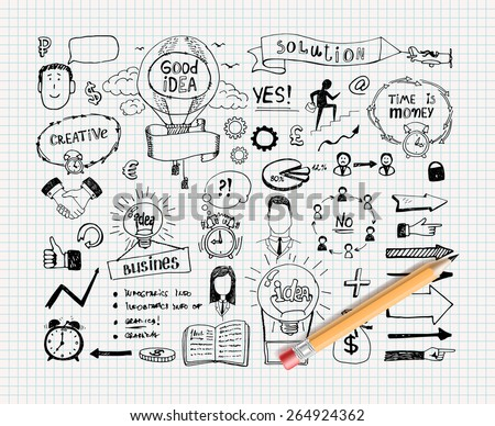 Business idea doodles. Solution and motivation, finance and success. Vector illustration - stock vector