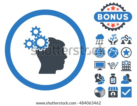 Business Idea icon with bonus symbols. Vector illustration style is flat iconic bicolor symbols, smooth blue colors, white background.