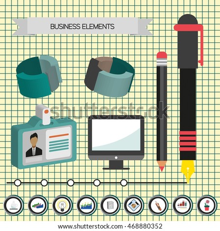 Business idea infographic with icons, persons and 3d charts, flat design. Digital vector image