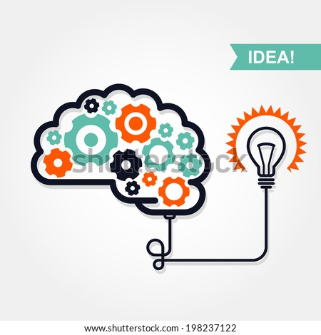 Business idea or invention icon -  brain with gear wheel and light bulb - stock vector