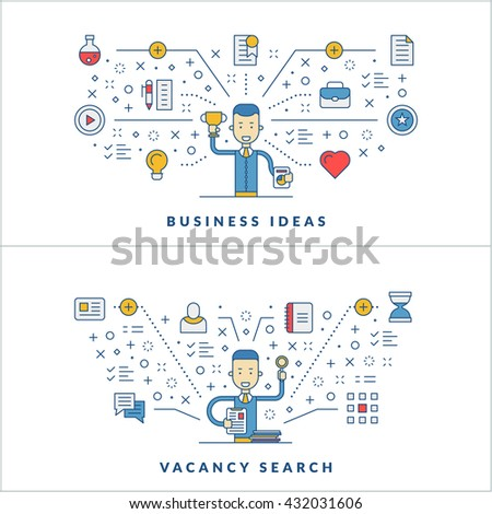 Business ideas. Vacancy search. Web design. Social media. Flat line icons and businessman cartoon character. Business concept. Vector thin line illustration for website banner template or header