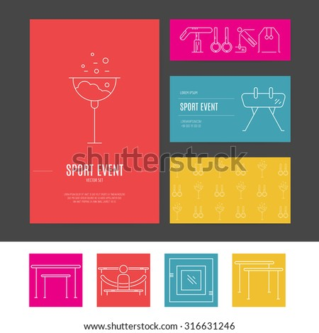 Business identity vector set with different artistic gymnastics elements including pommel, balance beam, floor. Business card and letterhead. Sports vector. - stock vector