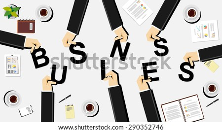 Business illustration concept. Business people brings letters. Flat design illustration concepts for teamwork, discussion, business, career, strategy, decision making, analysis, meeting.  - stock vector