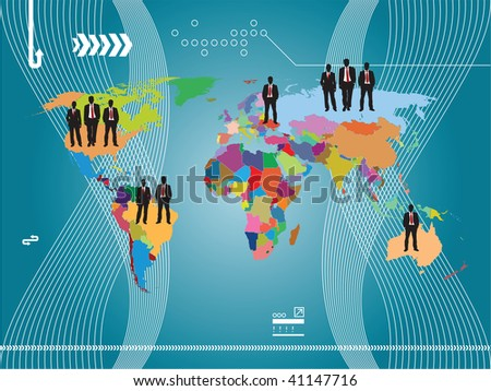 business illustration of the world and background blue