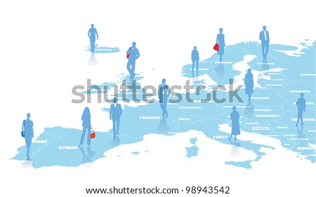 Business illustration with map of Europe - stock vector