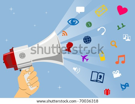 Business impulsion trough social media network - stock vector
