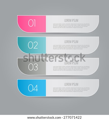 Business info graphics template for presentation, education, web design, banners, brochures, flyers. Blue, green, grey and black tabs. Vector illustration. - stock vector
