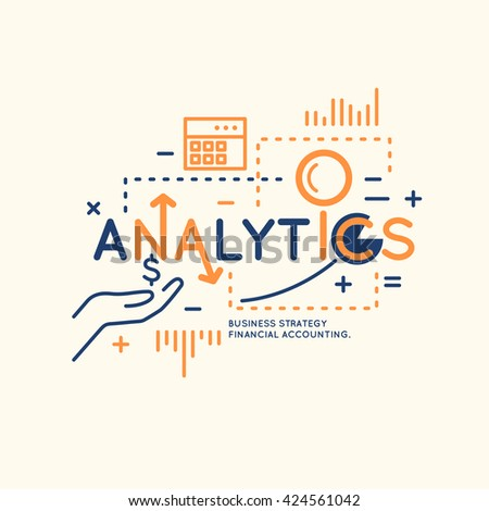 Business infographic data analytics.  Bright modern vector illustration of Analytics and statistics. - stock vector